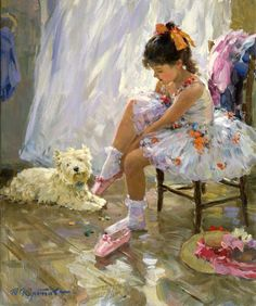 Yuri Krotov, 1964 ~ Impressionist Figurative painter : Before the first performance of