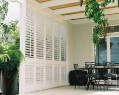 ideas for patio privacy shutters outdoor rooms Outdoor Shutters, Privacy Screen Outdoor, Outdoor Blinds, Outdoor Rooms, Outdoor Living, Exterior Shutters, Diy Shutters, Pergola Patio, Backyard Patio