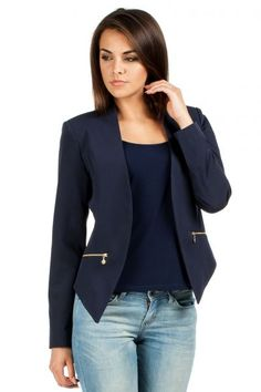 Asymmetric blazer with decorative zipper
