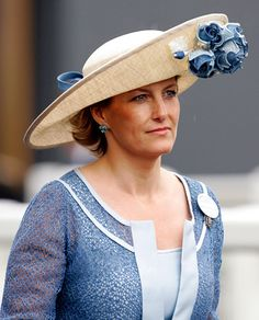 The Countess of Wessex, Sophie, sports a large-brim hat with a big blue bloom at the Royal Ascot in 2009.