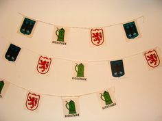 1973 Vintage Hanging Banner Pennants Large Double Sided Vintage Flags by studio180, SOLD