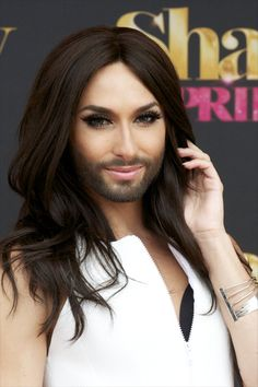 Conchita Wurst Austrian drag queen Conchita Wurst was thrust into the spotlight when he won the Eurovision Song Contest, but since then he has walked the Jean Paul Gaultier runway. He rocks his beard, brunette curls, and bombshell lashes with pride. Beauty News, Beauty Trends, Beauty Secrets, French Maid Dress, Stunningly Beautiful, Beauty Industry, Real Beauty, Just Amazing, Skin Makeup