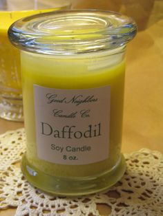 Daffodil Soy Candle Fitted Lid 8 Ounce by GoodNeighborsCandle, $10.00