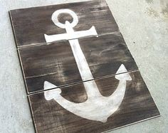 NAUTICAL ANCHOR SIGN- Reclaimed Wood Anchor Painting