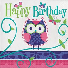 Ply lunch napkins happy birthday owl pal birthdaycase of - Happy birthday images Animal Owls Happy Birthday Owl, Happy Birthday Messages, Happy Birthday Quotes, Happy Birthday Images, Happy Birthday Greetings, Birthday Pictures, Birthday Fun, 1st Birthday Parties, Free Happy Birthday Cards