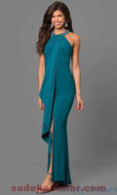 Gece Elbiseleri 2018 & 2019 Abiye Modelleri Sade Halter Yaka