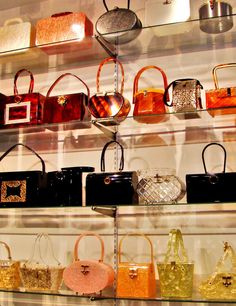 Gasp!  Vintage Bakelite & Lucite Bag Heaven in a shop in New York.