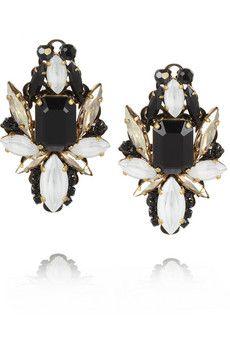 Erickson Beamon Girls On Film gold-plated Swarovski crystal earrings | NET-A-PORTER