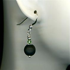 Black Onyx Earrings, Earrings Silver Matt Black Onyx Swarovski Green Crystals Beads, Handcrafted Jewelry,  Handmade Earrings