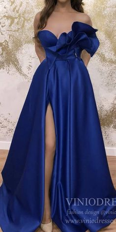Strapless Royal Blue Satin Prom Dresses with Slit & Pockets – Viniodress Junior Prom Dresses, Strapless Prom Dresses, Formal Dresses For Weddings, Lace Bridesmaid Dresses, Formal Evening Dresses, Chiffon Dresses, Wedding Dresses, Cheap Elegant Dresses, Sweet 15 Dresses