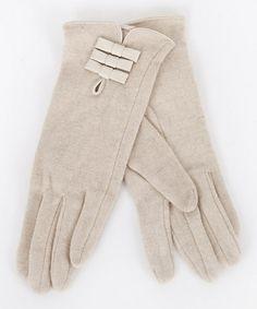 Another great find on #zulily! Beige Bow Wool-Blend Gloves by Lavand #zulilyfinds