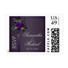 Elegant Purple Roses and Moss Green RSVP Postage