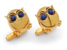 Lot 182 A Pair of Lapis Lazuli and Gold Owl Cufflinks, Cavelti