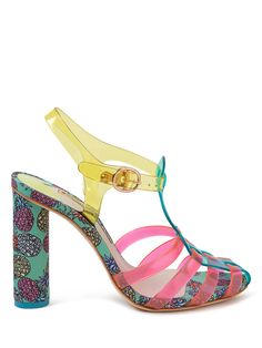 Pineapple Heeled Sandals from Sophia Webster. Jelly heeled sandals feature multicolor straps, satin covered block heels with a pineapple print design, and gold tone buckle closures. Leather soles.