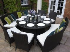 Large Round Dining Table Benches and Chairs Rattan Garden Furniture Set Seats 10