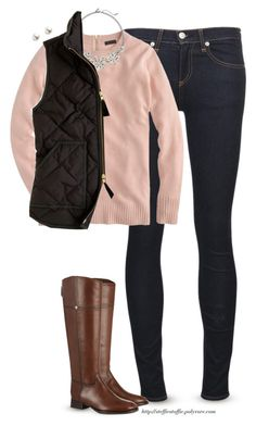 """Chilly winter day"" by steffiestaffie ❤ liked on Polyvore featuring rag & bone/JEAN, J.Crew, The Limited, Tory Burch and TARA Pearls"