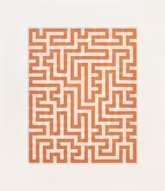 Anni Albers Red Meander II, screenprint 28 × 24 ins. × 61 cm) Signed, Gift from The Josef and Anni Albers Foundation Anni Albers, Josef Albers, Tikal, Haiku, Bauhaus Textiles, Edc, Fabric Journals, Textile Artists, Op Art