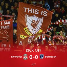 KICK-OFF: We're underway at Anfield between ‪#‎LFC‬ and FC Girondins de Bordeaux in the UEFA Europa League tie. Come on you Reds!