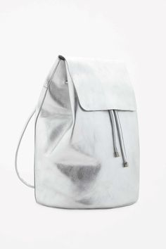 Metallic leather backpack
