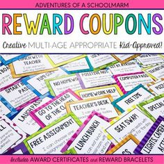 Classroom rewards made easy! Your students will love these 40 unique reward coupons for positive classroom management, and you will love how much money it saves you! These reward coupons focus on rewarding students with privileges that make them feel spec