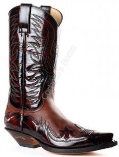 Bota cowboy Sendra unisex piel marrón combinada