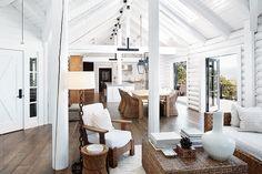 Living room and dining room in modern design log cabin by Trinette Reed - Stocksy United Modern Log Cabins, Small Log Cabin, Log Cabin Kits, Log Cabin Homes, Home Design, Cabin Design, Design Ideas, Interior Design, Casa Pop