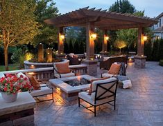 Dream Backyard courtesy of furniture from Patio World of Bend Oregon. Love the pergola and the fire pit on the paver patio! Design Patio, Backyard Patio Designs, Outdoor Kitchen Design, Pergola Designs, Backyard Landscaping, Landscaping Ideas, Backyard Ideas, Pergola Ideas, Firepit Design