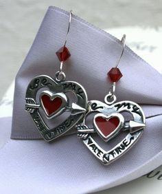 Valentine heart earrings Be my Valentine by kari1121 on Etsy