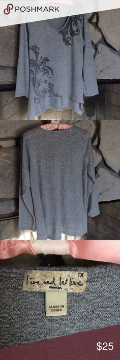 Gray V-neck hi-low hem sweater Gray sweater with fancy black leaf print on front, few silver studs on top leaves.  Hi/low hem, v-neck.  Good condition, from smoke free home. live and let live Sweaters V-Necks