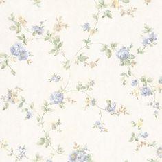992-68331 Light Blue Floral Vine Wallpaper - Mary - Mirage Wallpaper