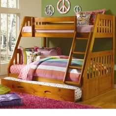 Cambridge Stanford Twin Over Full Bunk Bed with Twin Slide-out Trundle