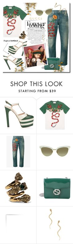 """Stand Up: Gucci platform sandals...#jeans #shirt #bag #platform #gucci #polyvore"" by fashionlibra84 ❤ liked on Polyvore featuring Gucci and Shay"