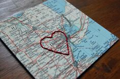 Bought this for my husband for our wedding anniversary  I Love Detroit, MI - vintage map embroidered with red thread heart.