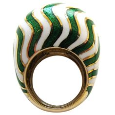 A Gold, Green, and White Enamel RIng, by DAVID WEBB