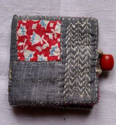 RESERVED/embroidered needle book made in linen, cotton, wool, vintage Nepalese bead