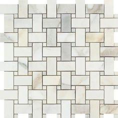 Calacatta Gold (Calcutta) Italian Marble Basketweave Mosaic Tile with Calacatta Gold Dots Polished Calacatta Gold Marble, Marble Mosaic, Mosaic Wall, Mosaic Glass, Calcutta Marble, Mosaic Bathroom, Stone Mosaic Tile, Mosaic Tiles, Mosaics