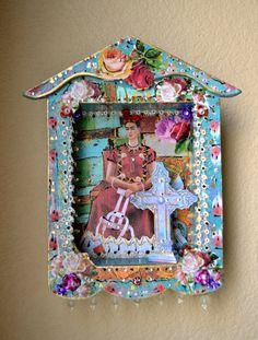 Frida Kahlo Shadow Box Mexican Art Milagro by OliviabyDesign, $31.95 #mexican art # home art #mexican bohemian