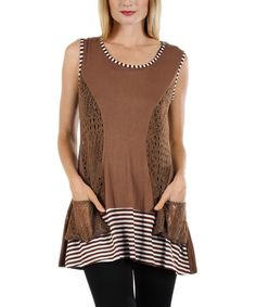 Look at this Lily Mocha & White Crochet-Cutout Tunic on #zulily today!