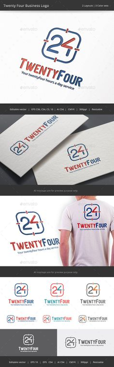 Twenty Four Business Number 24	  Logo Design Template Vector #logotype Download it here: http://graphicriver.net/item/twenty-four-business-number-24-logo/9203718?s_rank=84?ref=nesto