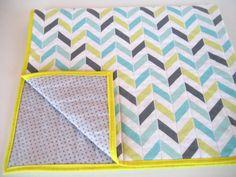 Modern baby quilt - chevron herringbone yellow gray aqua blue - gender neutral - baby shower gift on Etsy, $79.89 CAD