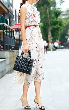 Stand Collar Sleeveless Florals Chiffon Dress