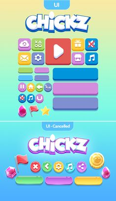 Chickz on Behance Game Design, App Ui Design, Game Gui, Game Icon, Kit Games, Button Game, Indie, Game Interface, Game Background