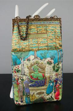Mughal print qulited satin evening bag 1960s handbag from Viva Vintage Clothing