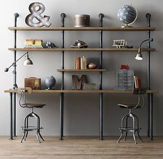 Furniture - Industrial pipe desk and shelving: stylishly industrious - Busyboo - build small dresser for underneath?