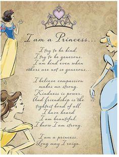 Artissimo Disney Princess I Am A Princess Glitter Canvas Wall Art