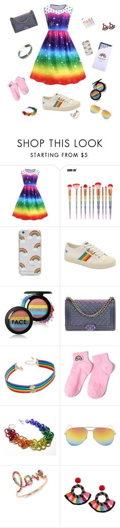 """""""Rainbow a-go-go"""" by sunset-fashion ❤ liked on Polyvore featuring Sonix, Gola, Chanel, INC International Concepts, Yves Saint Laurent and Sydney Evan"""