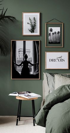Grün im Schlafzimmer ist der Trend von An der Wand oder auf deinem Bett ist - Wohnaccessoires Green in the bedroom is the trend of On the wall or on your bed Ideen Green Bedroom Walls, Sage Green Bedroom, Green Accent Walls, Accent Wall Bedroom, Room Decor Bedroom, Ikea Bedroom, Bedroom Furniture, Bed Room, Green Bedroom Colors