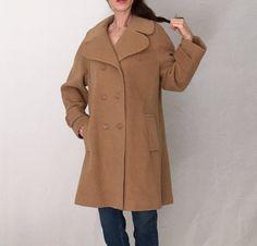 Avant garde 80s coat/cream wool coat women modern minimalist coat