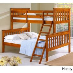 Donco Kids Mission Tilt Ladder Twin / Full Bunk Bed (€480) ❤ liked on Polyvore featuring home, children's room, children's furniture and brown