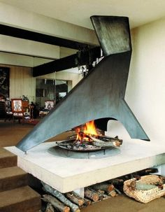 chic modern fireplace #interiors #structural #sleek
